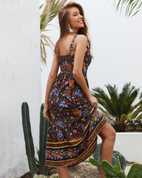Party beach Cocktail Women Dresses Casual Long V Neck Long Sleeve sundress